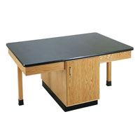 4 Student Science Table with Storage Cabinet