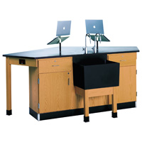 4 Student Science Lab Workstation with Assorted Fixtures