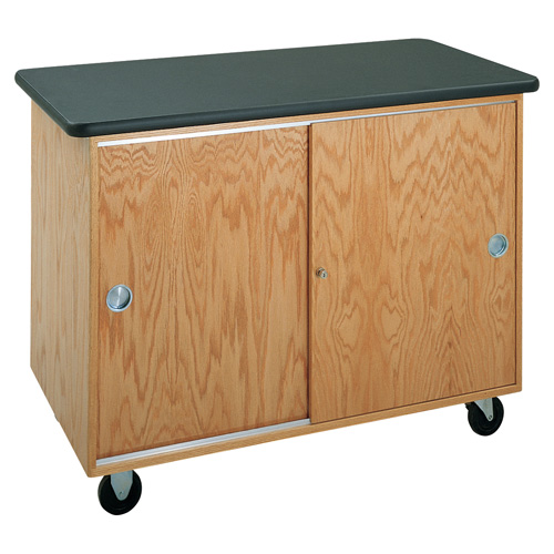 Mobile Lab Table with Locking Cabinet