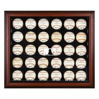 Mahogany Framed 30-Ball Display Case with MLB Team Logo