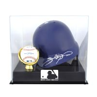 Batting Helmet and Ball Holder Display Case with MLB Team Logo