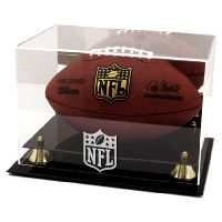Golden Classic Football Display Case with NFL Team Logo