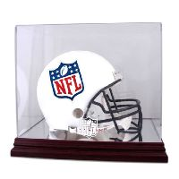 Mahogany Football Helmet Display Case with NFL Team Logo