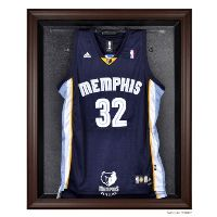 Brown Framed Jersey Display Case with NBA Team Logo