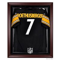 Mahogany Framed Jersey Display Case with NFL Team Logo
