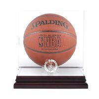 Mahogany Basketball Display Case with NBA Team Logo