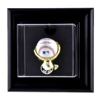 Black Framed Wall Mounted Single Ball Display Case with MLB Team Logo