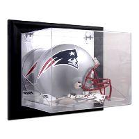 Black Framed Wall Mounted Helmet Display Case with NFL Team Logo