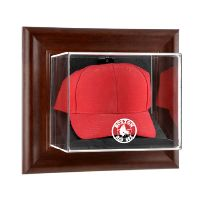 Brown Framed Wall Mounted Cap Display Case with MLB Team Logo