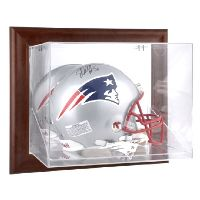 Brown Framed Wall Mounted Helmet Display Case with NFL Team Logo