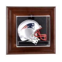 Brown Framed Wall Mounted Mini Helmet Display Case with NFL Team Logo