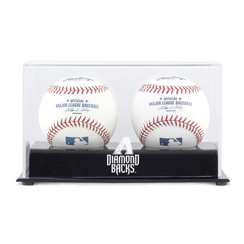 Deluxe Two Ball Cube Display Case with MLB Team Logo