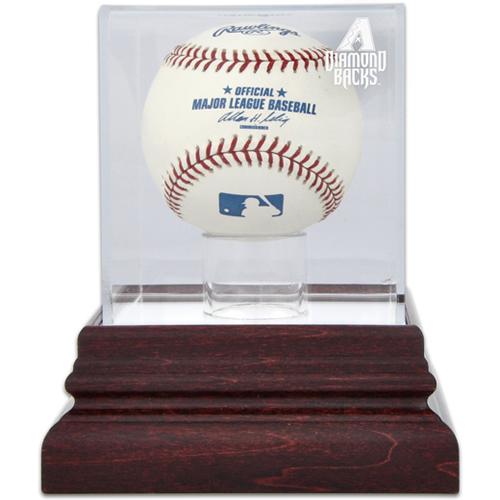 Antique Mahogany Single Ball Display Case with MLB Team Logo