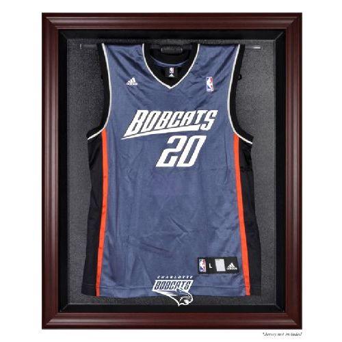 Mahogany Framed Jersey Display Case with NBA Team Logo