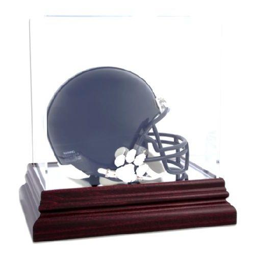 Mahogany Mini Helmet Display Case with NCAA Logo