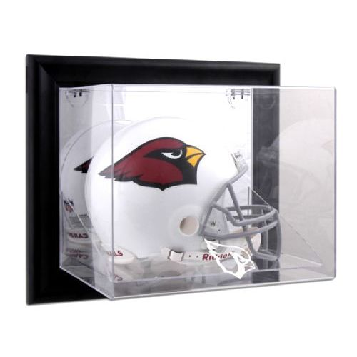 Black Framed Wall Mounted Helmet Display Case with NFL Team Logo