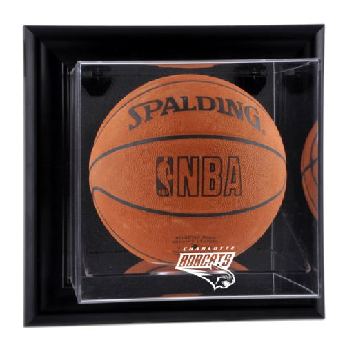 Black Framed Wall Mounted Basketball Display Case with NBA Team Logo