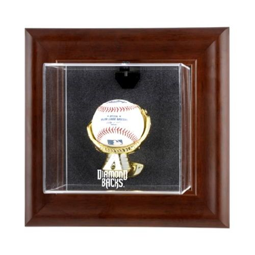 Brown Framed Wall Mounted Single Ball Display Case with MLB Team Logo