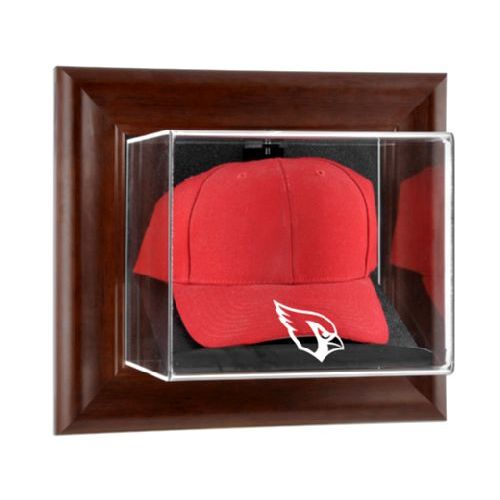 Brown Framed Wall Mounted Cap Display Case with NFL Team Logo