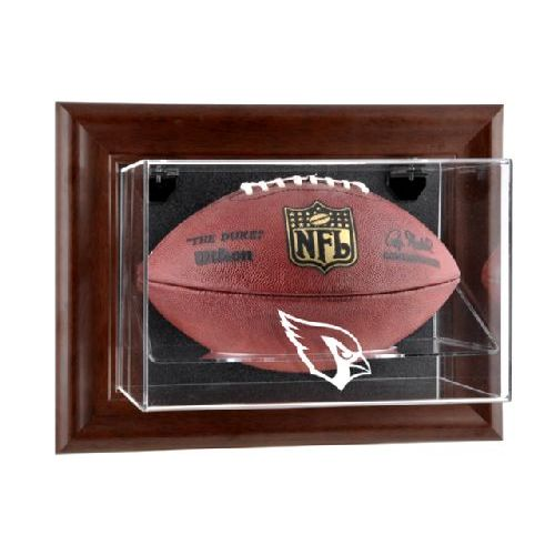 Brown Framed Wall Mounted Football Case with NFL Team Logo