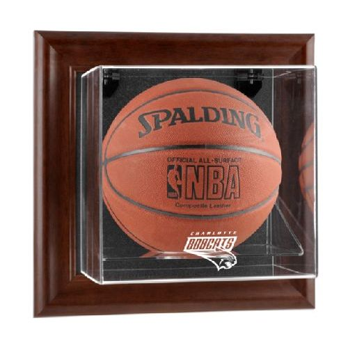 Brown Framed Wall Mounted Basketball Display Case with NBA Team Logo