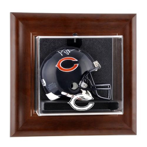 Brown Framed Wall Mounted Mini Helmet Display Case With