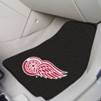 Detroit Red Wings (Black) 2-Piece Printed Carpet Car Mat Set - 18 x 27