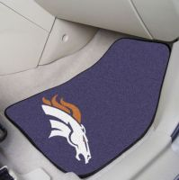 Denver Broncos 2-Piece Carpeted Car Mats - 18 x 27