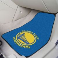 Golden State Warriors 2-piece Carpeted Car Mats - 18 x 27