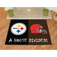 Pittsburgh Steelers - Cleveland Browns House Divided Mat - 34 x 45