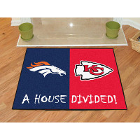 Denver Broncos - Kansas City Chiefs House Divided Mat - 34 x 45