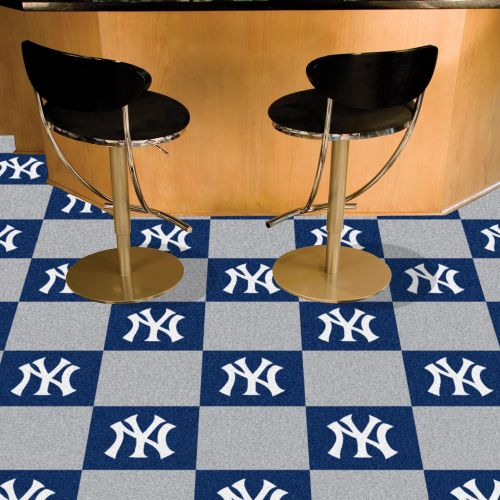 "New York Yankees Carpet Tiles - 18"" x 18"" (10 Logo/10 Solid Tiles)"