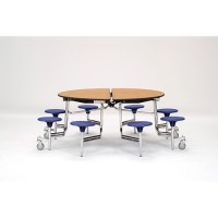 Round Mobile Cafeteria Table with Stools