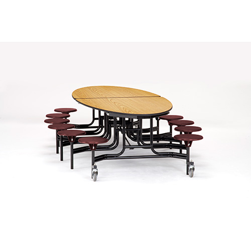 Elliptical Mobile Cafeteria Table with Stools