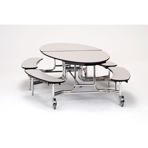 Fixed Bench Elliptical Mobile Cafeteria Table