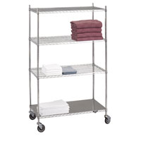 Linen Cart with 4 Wire Shelves