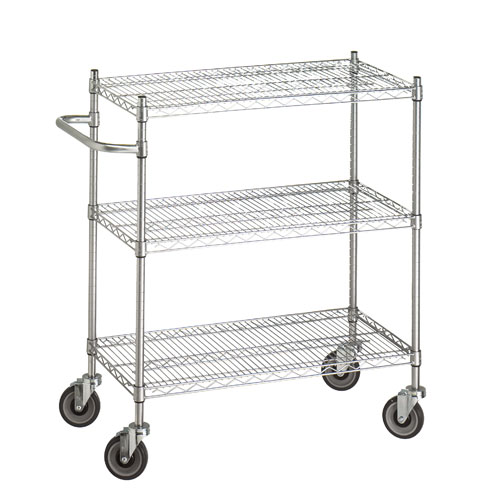 Adjustable Utility Cart with 3 Wire Shelves