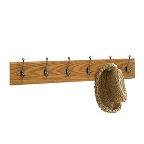 4217MO Wooden Wall Mounted Coat Rack 6 Hooks 355W x 3