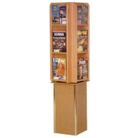 Free Standing Rotating Oak Literature Display