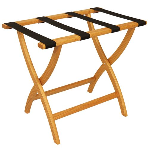 Deluxe Solid Oak Luggage Rack - Convex Legs