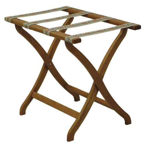 Deluxe Solid Oak Luggage Rack - Concave Legs