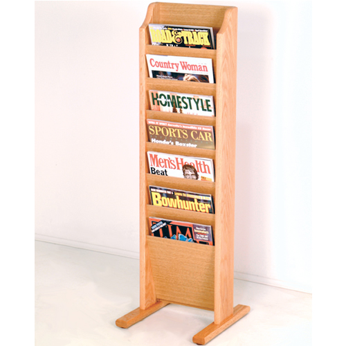 Oak Magazine Floor Rack