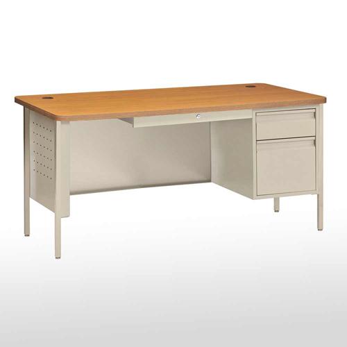 """SPR6030PO Steel Teachers Desk Single Pedestal 60""""W x 29"""