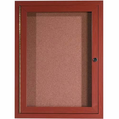 Indoor Enclosed Aluminum Bulletin Boards with Wood-Look Finish
