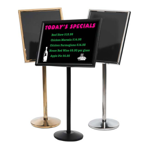 Single Pedestal Dual Capability Neon Markerboard and Menu/Poster Holder