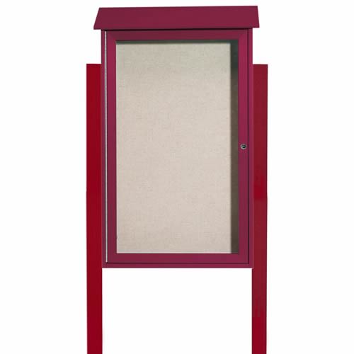 Park Ranger Series Single Hinged Door Bulletin Board with Mounting Posts