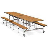 Mobile Bench-Seat Cafeteria Table