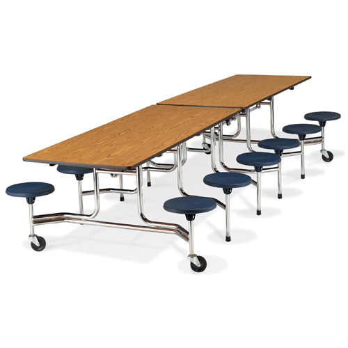 Mobile Stool-Seat Cafeteria Table