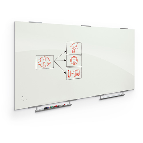Visionary® Magnetic Glass Dry Erase Whiteboard with Exo Tray System