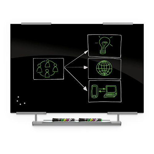 Visionary® Magnetic Black Glass Dry Erase with Exo Tray System